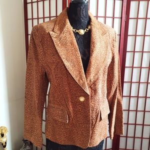 Genuine Leather Suede Cheetah Print Blazer